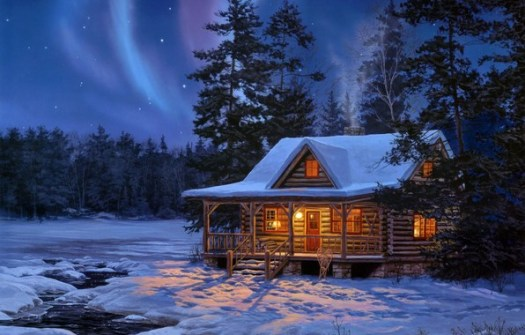 Cabin in the woods in winter