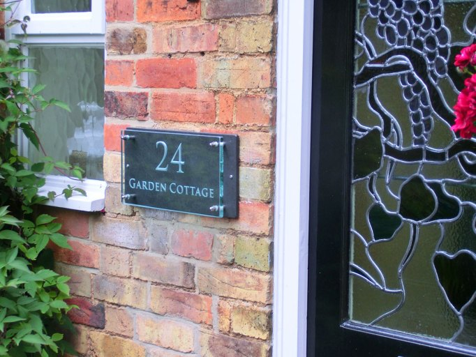 Glass House Name Plaque Engraved Sandblasted Glass House Names Garden Cottage