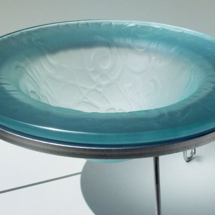 Kiln Formed Decorative Glass Drop Bowl Sandblasted Acid Polished Steel Glass Detail Tim Carter