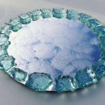 Mirror Round Glass Etched Sculpture