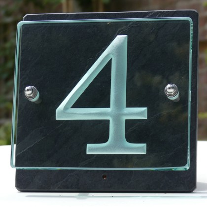 Engraved Glass House Number Plaque 4 Tim Carter
