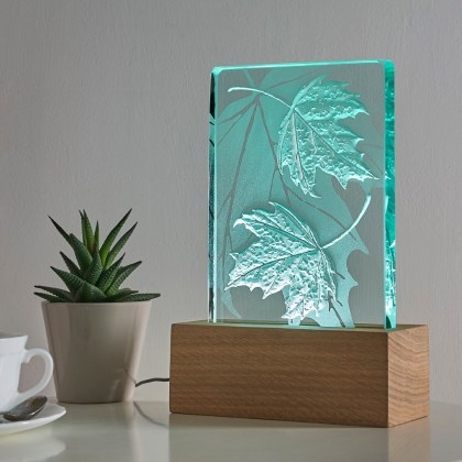 Engraved sandblasted leaves on glass oak wood table light with LED lighting by Tim Carter