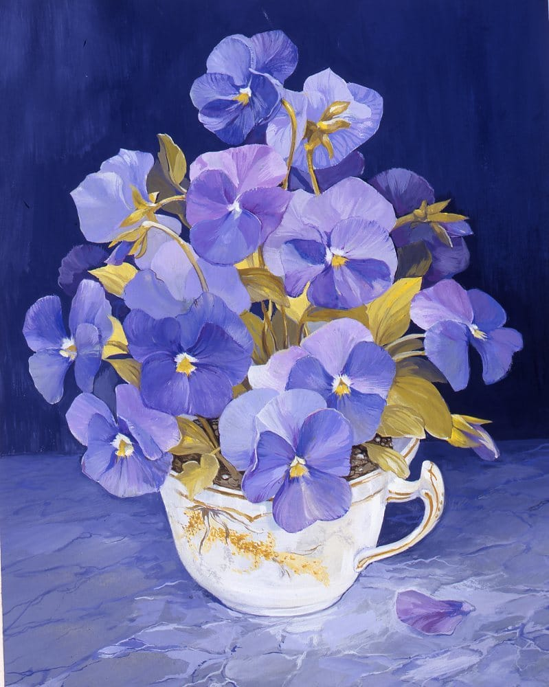 Cup of Pansies