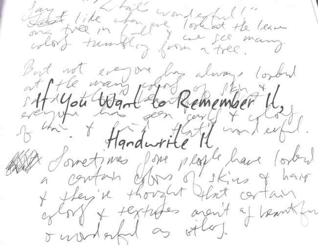 Writing: If You Want to Remember It, Write It By Han…