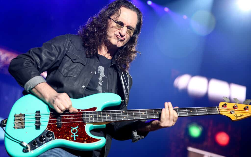 Geddy Lee of Rush performs during the final show of the R40 Tour at The Forum on Saturday, August 1, 2015, in Los Angeles. (Photo by Rich Fury/Invision/AP)
