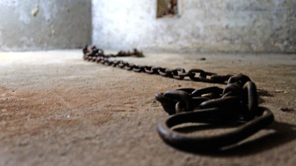 Chains used to chain African American slaves to the back wall of a church during the time of American slavery