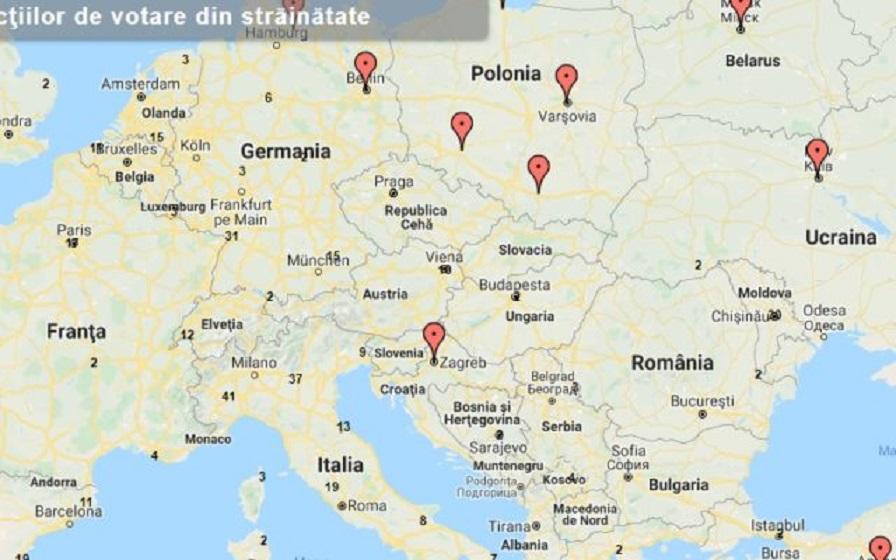 Harta Interactivă Cu Secțiile De Votare Din Străinătatetimp