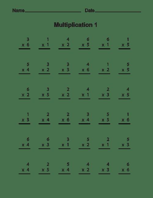 free printable multiplication worksheet