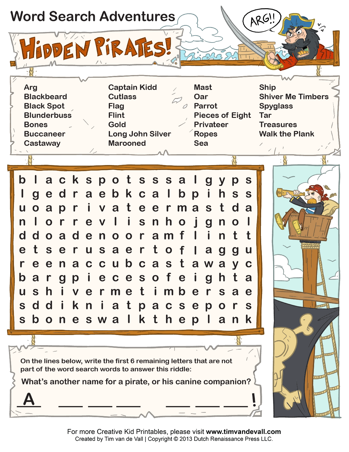 Free Printable Word Searches for Kids - Tim's Printables