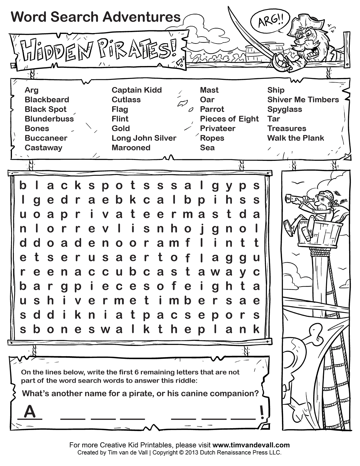 Dashing image with free printable word searches for kids