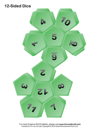 Printable-12-Sided-Paper-Dice-Green-350w