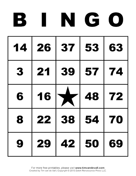 Printable Bingo Cards
