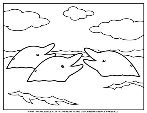 Dolphin Coloring Page for Kids