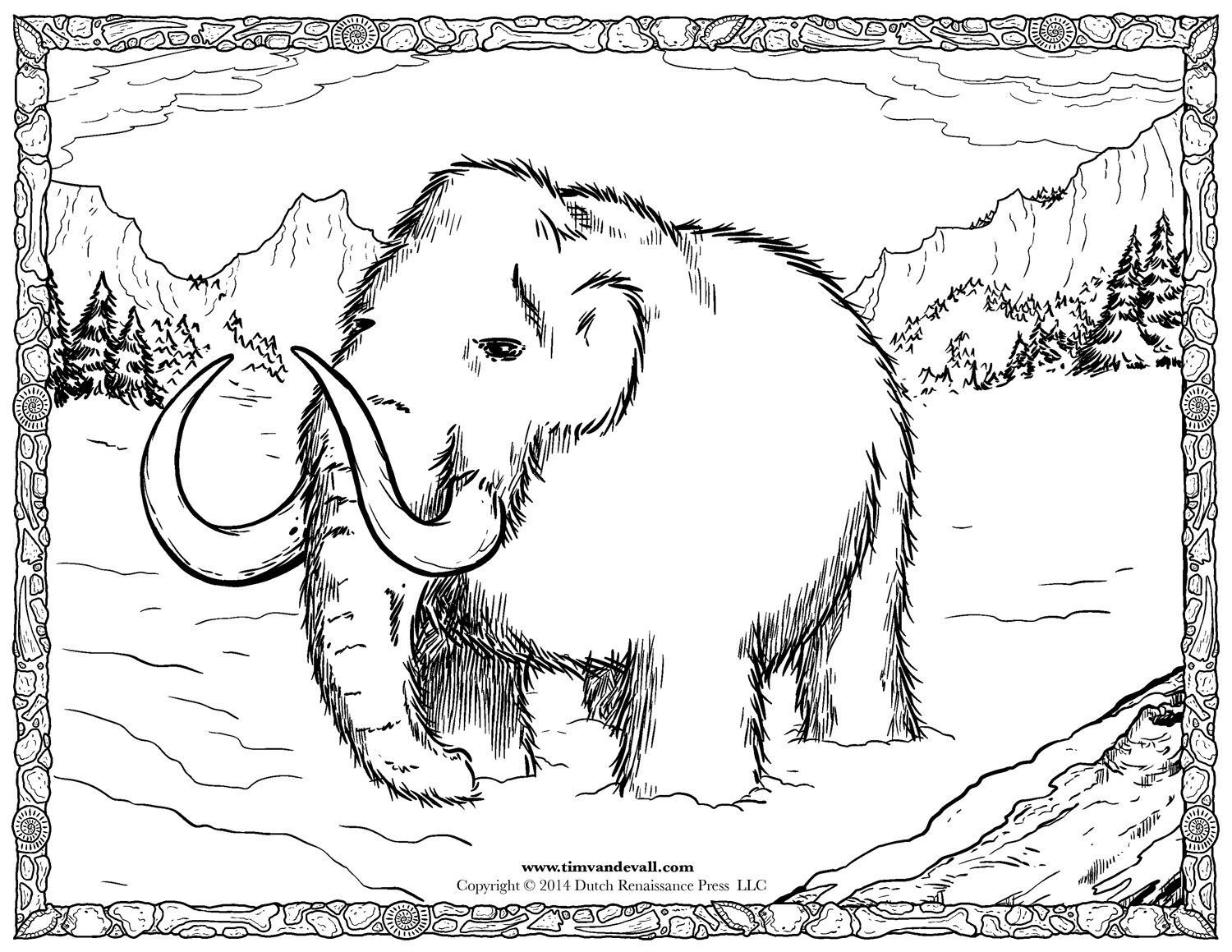 Woolly Mammoth Coloring Page