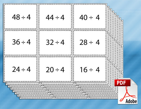 Division Flash Cards Bw Tim 39 S Printables
