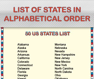 List of States in Alphabetical Order