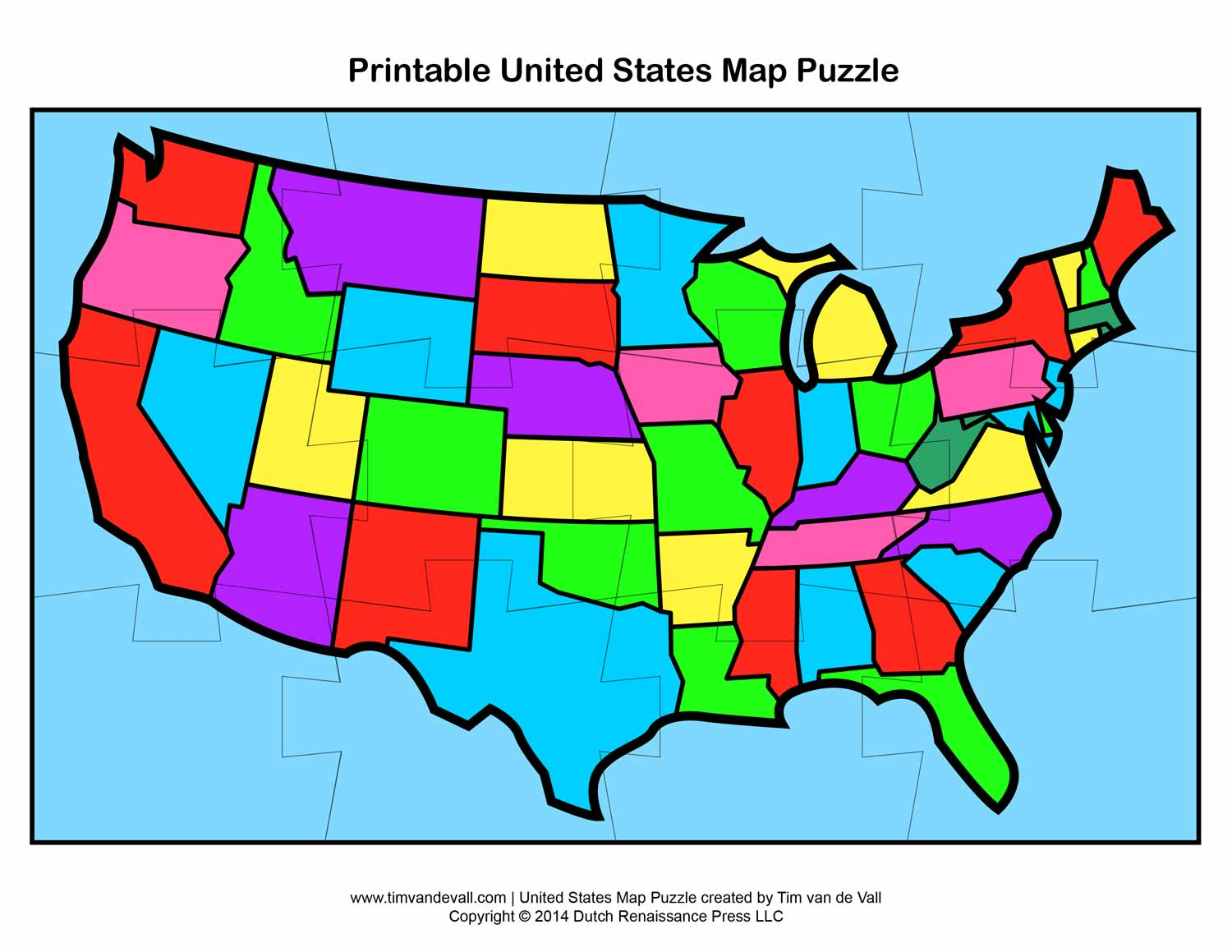 Printable United States Map Puzzle For Kids