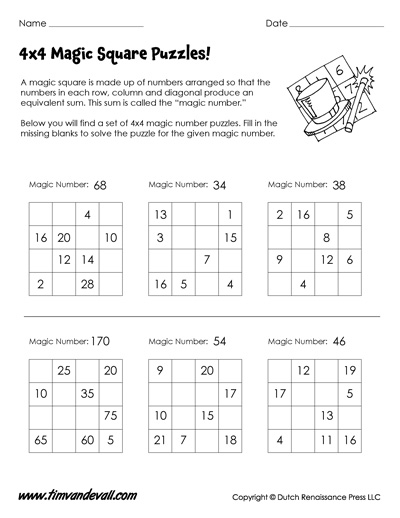 4x4 magic square puzzles