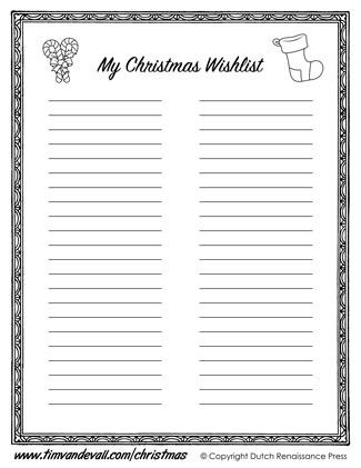 free christmas wishlist for kids