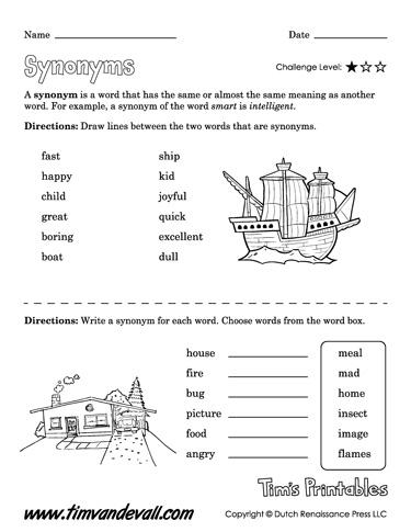 Free Synonym Worksheet