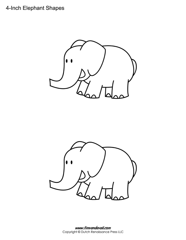 Printable Elephant Templates Elephant Shapes For Kids