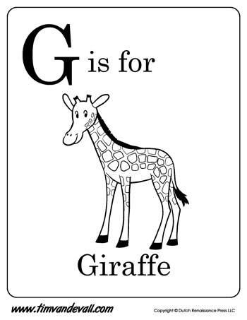 G is for giraffe letter g coloring page