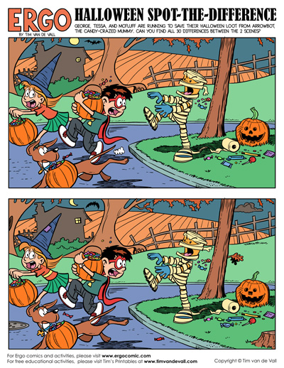 halloween spot the difference printable
