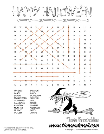 Halloween Word Search Answer Key