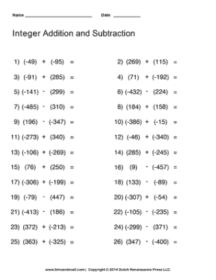 integers math worksheet