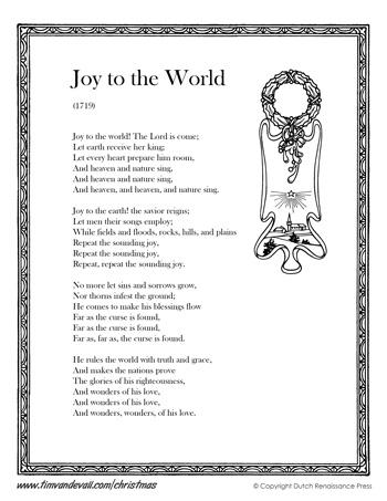 Joy to the World Lyrics - Tim's Printables