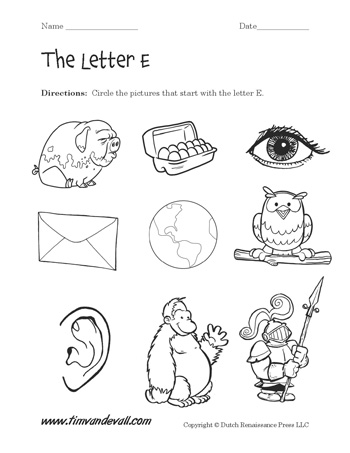 letter e worksheet