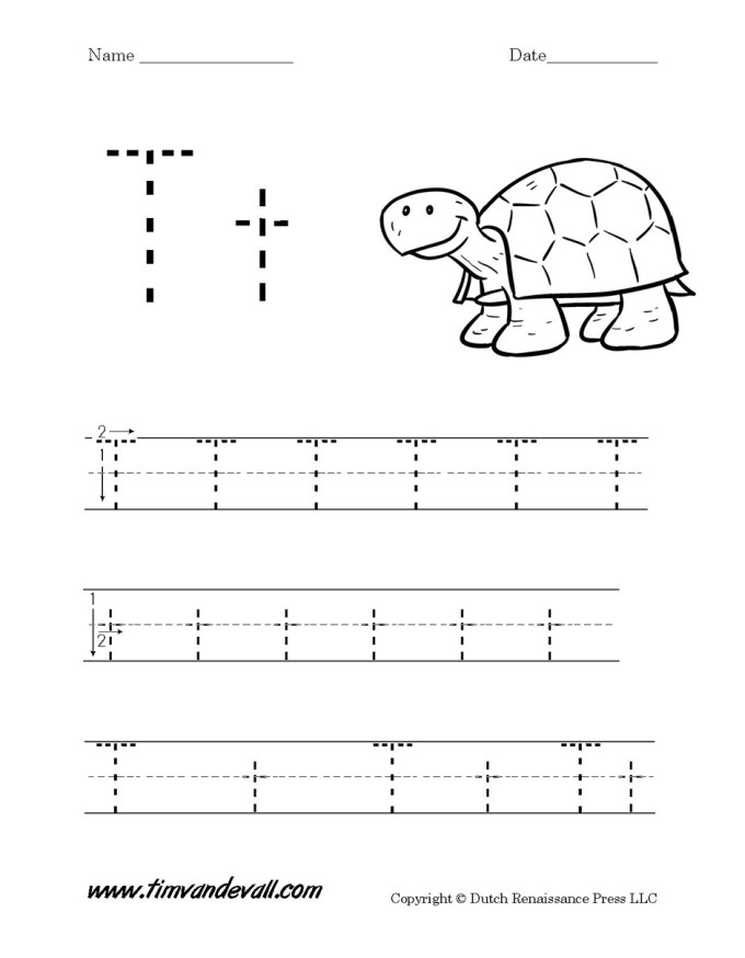Letter T Worksheets For Prek Lettercard