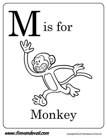 M is for Monkey letter m coloring page