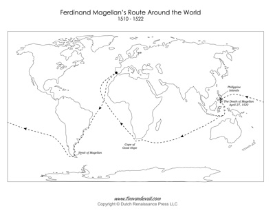 Ferdinand Magellan Route Map