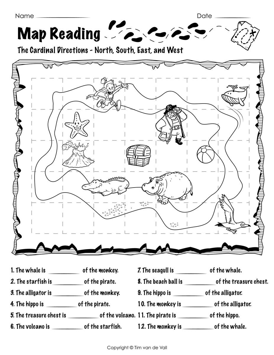 Map Reading Worksheet 02   Tim's Printables