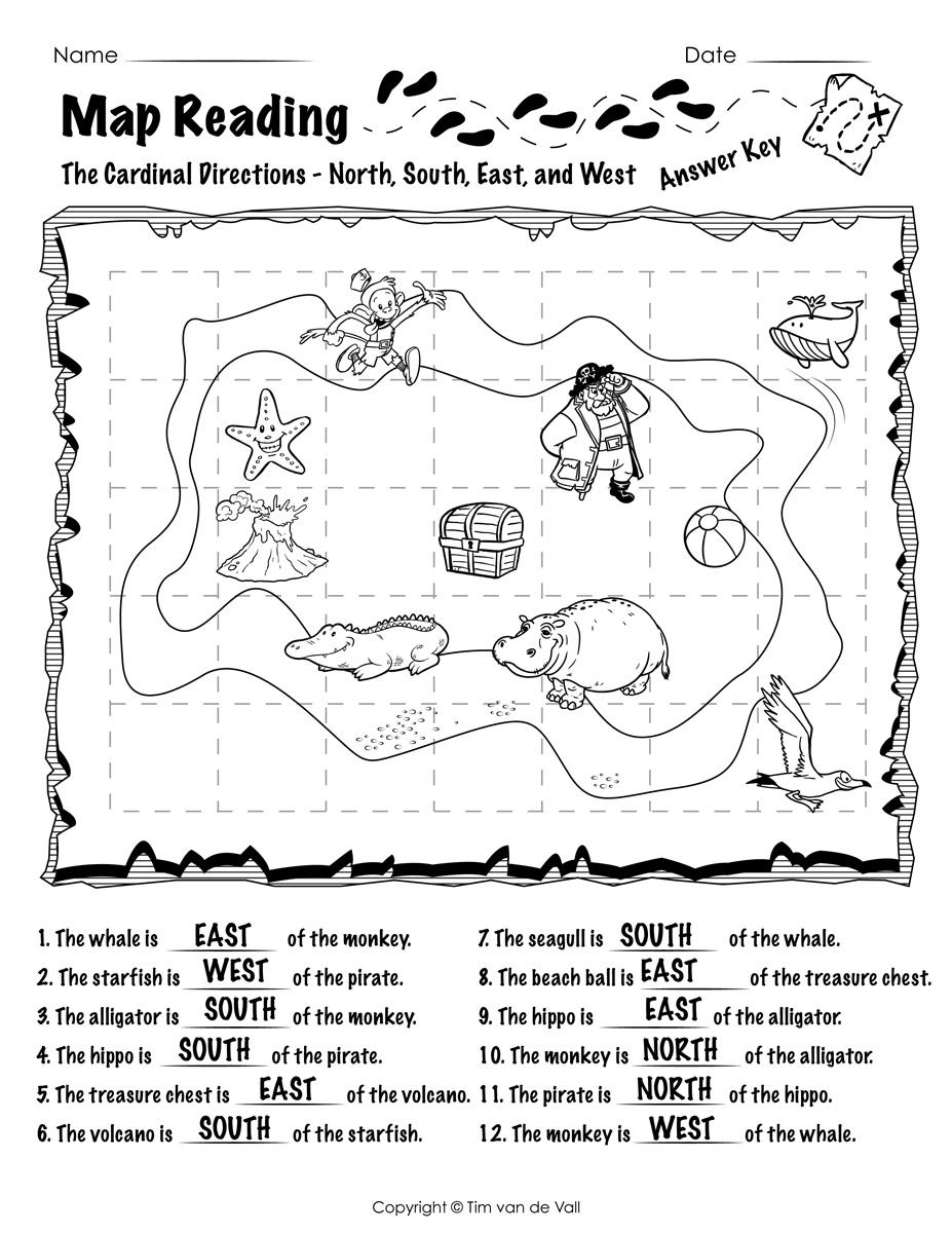 Free Printable Map Reading Worksheets - Tim's Printables