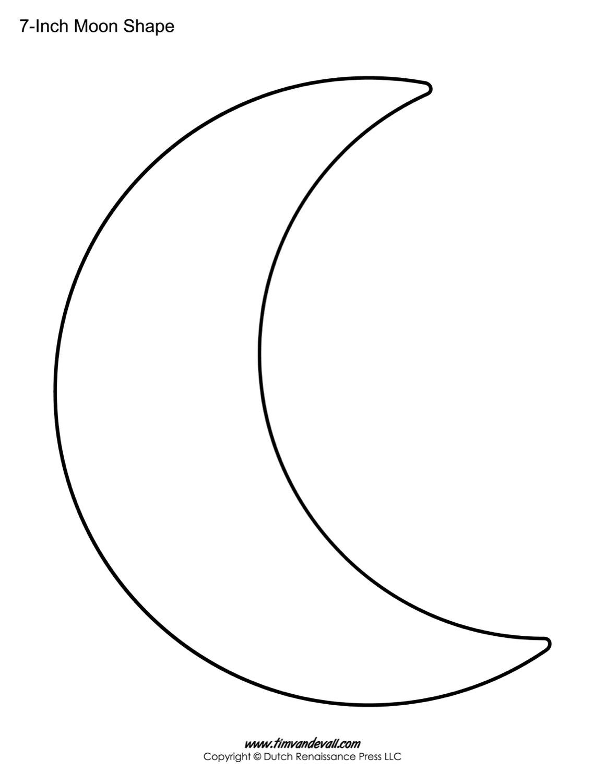Moon Outline Printable Smiling Crescent Shape Sketch