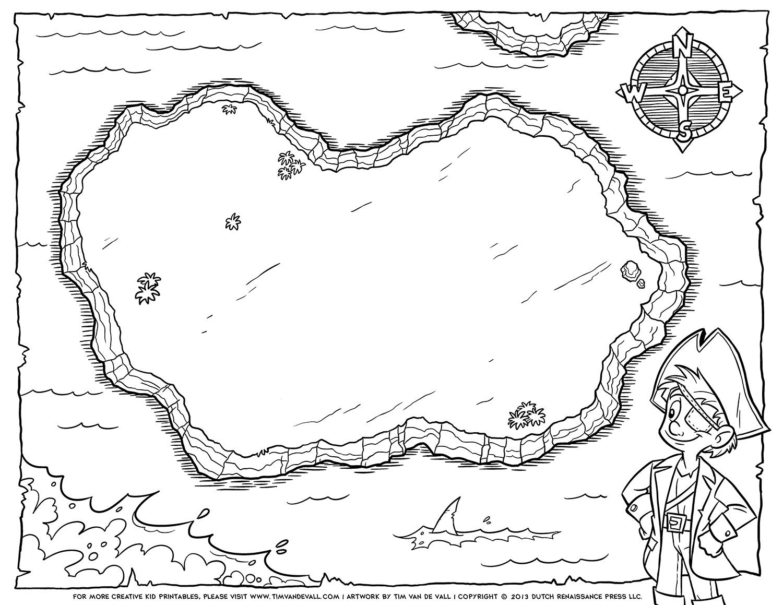 Pirate-Treasure-Map-Blank-BW - Tim's Printables