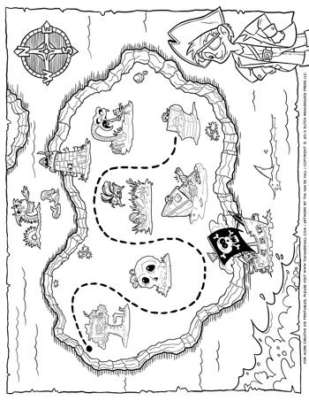 Pirate Treasure Map Coloring Page 350 Tim S Printables