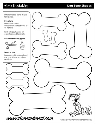 Free Printable Dog Bone Templates Blank Dog Bone Shapes