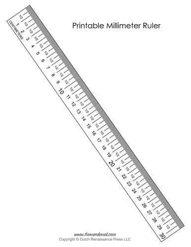 Printable Millimeter Ruler