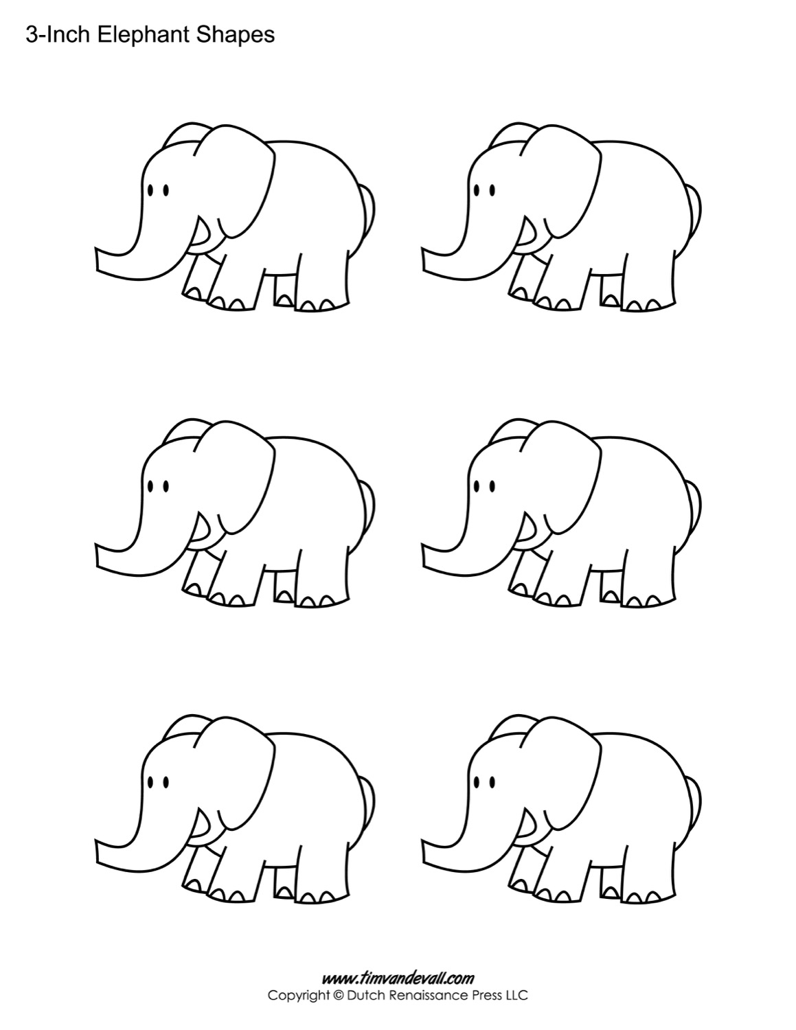 Printable Elephant Templates Elephant Shapes For Kids