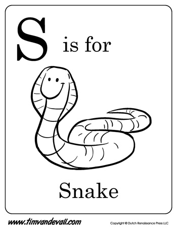 S is for Snake letter S coloring page