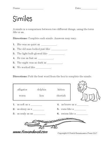Simile Worksheets