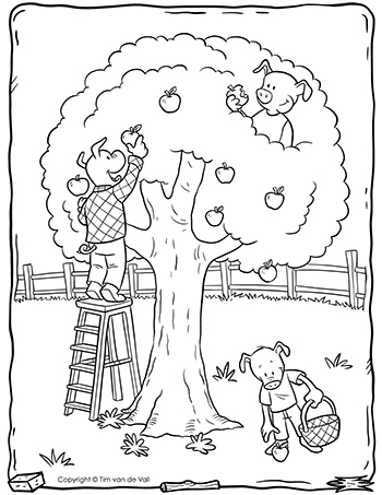 Three Little Pigs Apple Tree Coloring Page