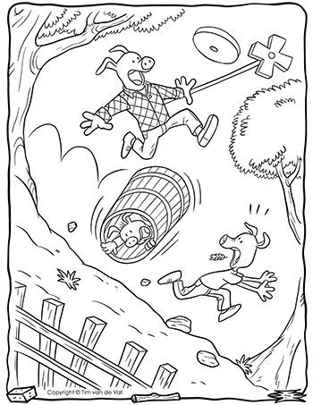 Three Little Pigs Butter Churn Coloring Page