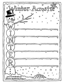 Winter Acrostic Poem - Black & White
