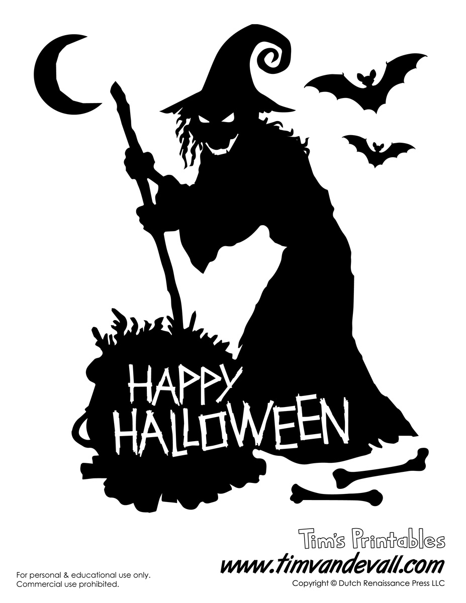 Witch Silhouette Halloween Printable Stencil
