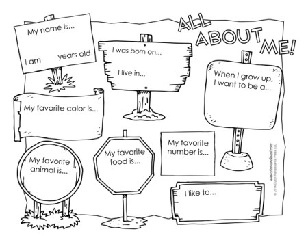 All About Me Worksheet Free