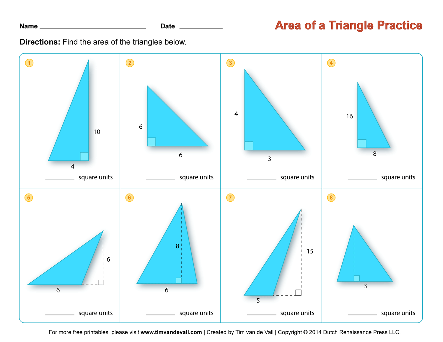 area of a triangle worksheet 2   Tim's Printables